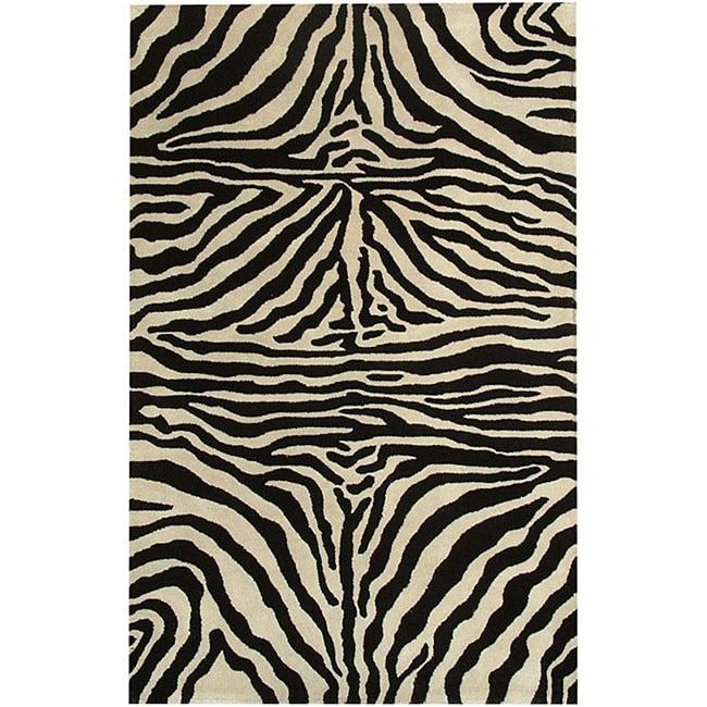 nuLOOM Zebra Animal Pattern Black/ White Wool Rug (8'6 x 11'6)
