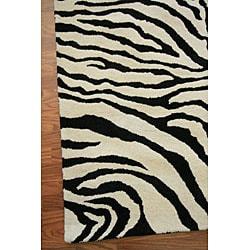 nuLOOM Zebra Animal Pattern Black/ White Wool Rug (8'6 x 11'6) - Thumbnail 1