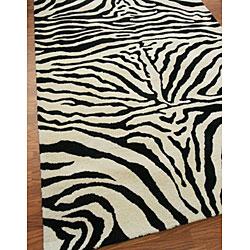 nuLOOM Zebra Animal Pattern Black/ White Wool Rug (8'6 x 11'6) - Thumbnail 2