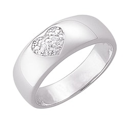 Sterling Silver Pave Diamond Heart Ring - Thumbnail 1