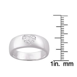 Sterling Silver Pave Diamond Heart Ring - Thumbnail 2