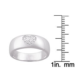 Sterling Silver Pave Diamond Heart Ring