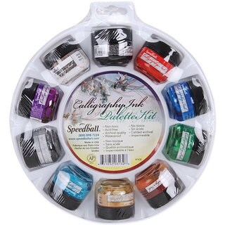 Speedball 10-color Calligraphy Ink Palette Set