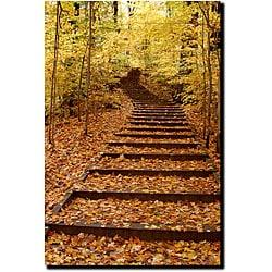 Kurt Shaffer 'Fall Stairway' Gallery-wrapped Art