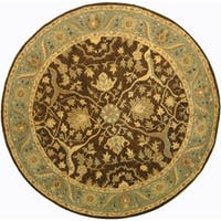 "Safavieh Handmade Antiquities Mahal Brown/ Blue Wool Rug - 3'-6"" x 3'-6"" round"