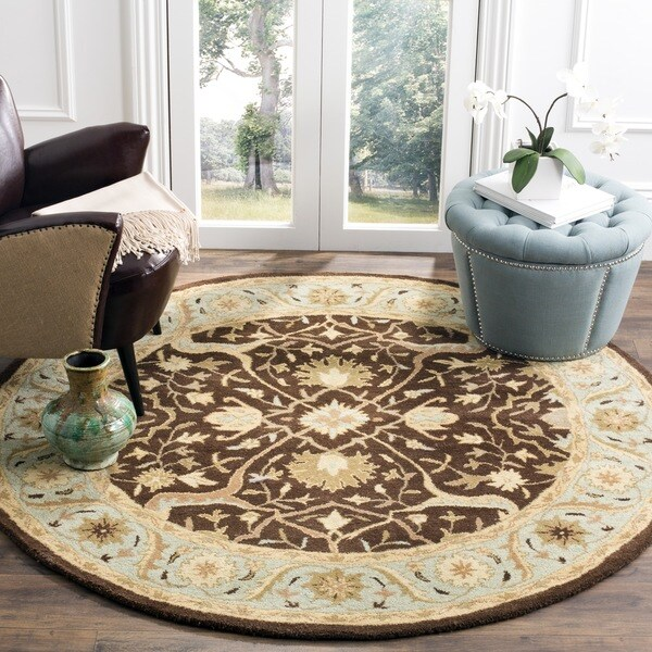 Safavieh Handmade Antiquities Mahal Brown/ Blue Wool Rug - 6' x 6' Round
