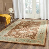 Safavieh Handmade Mashad Brown/ Green Wool Rug - 5' x 8'