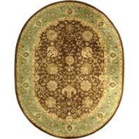 "Safavieh Handmade Mashad Brown/ Green Wool Rug - 7'6"" x 9'6"" oval"