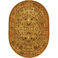 Safavieh Handmade Antiquities Kasadan Olive Green Wool Rug (7'6 x 9'6 Oval)