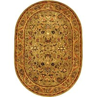 "Safavieh Handmade Antiquities Kasadan Olive Green Wool Rug - 7'6"" x 9'6"" oval"