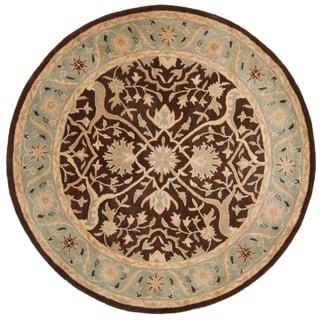 Safavieh Handmade Antiquities Mahal Brown/ Blue Wool Rug (8' Round)