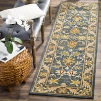 Safavieh Handmade Exquisite Blue/ Gold Wool Runner (2'3 x 12')