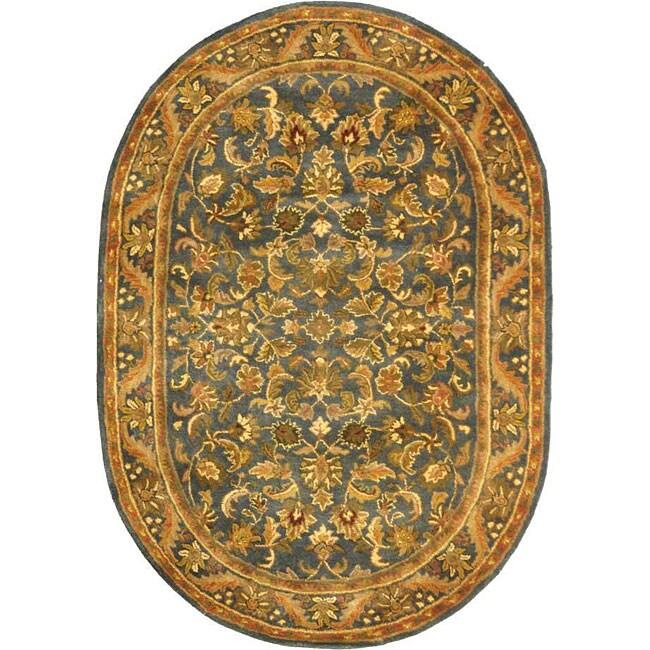Safavieh Handmade Exquisite Blue/ Gold Wool Rug (7'6 X 9'6