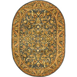 Safavieh Handmade Exquisite Blue/ Gold Wool Rug (7'6 x 9'6 Oval)