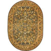 "Safavieh Handmade Exquisite Blue/ Gold Wool Rug - 7'6"" x 9'6"" oval"
