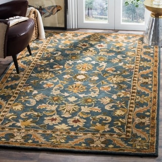 Safavieh Handmade Exquisite Blue/ Gold Wool Rug (7'6 x 9'6)
