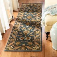 "Safavieh Handmade Exquisite Blue/ Gold Wool Runner - 2'3"" x 8'"