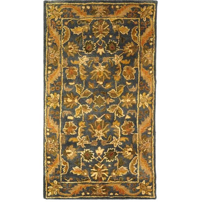 Safavieh Handmade Exquisite Blue/ Gold Wool Runner (2'3 x 4')