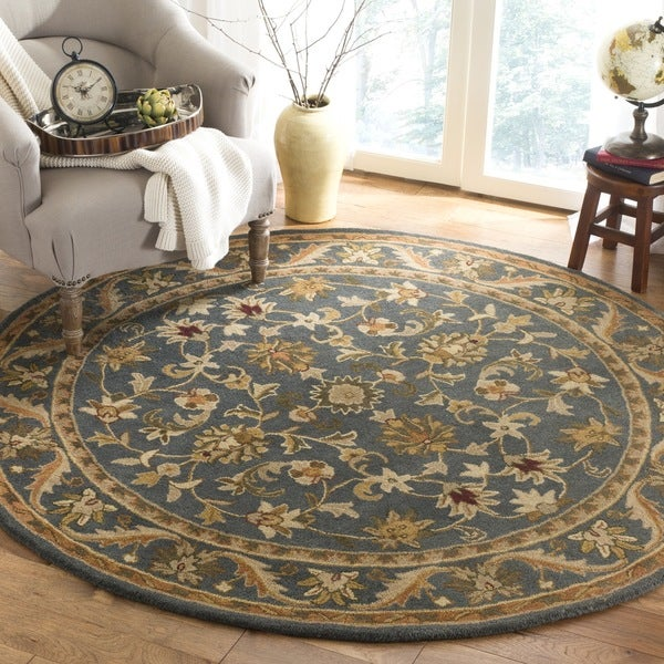 safavieh handmade exquisite blue gold wool rug 3 39 6 round free shipping today overstock. Black Bedroom Furniture Sets. Home Design Ideas