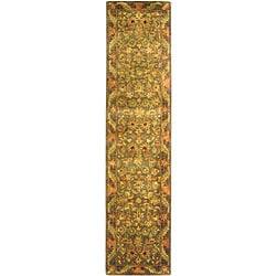 Safavieh Handmade Antiquities Kerman Charcoal Green Wool Runner (2'3 x 10')