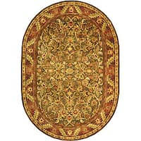 "Safavieh Handmade Antiquities Kerman Charcoal Green Wool Rug - 4'6"" x 6'6"" oval"