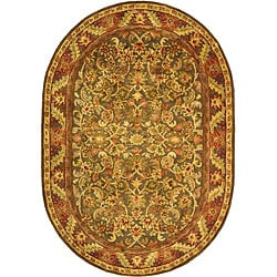 Safavieh Handmade Kerman Charcoal Green Wool Rug (7'6 x 9'6 Oval)