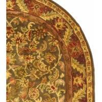 "Safavieh Handmade Kerman Charcoal Green Wool Rug - 7'-6"" x 9'-6"" oval"