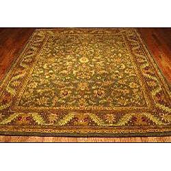 Safavieh Handmade Antiquities Kerman Charcoal Green Wool Rug (8'3 x 11') - Thumbnail 1