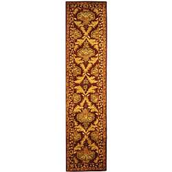 Safavieh Handmade Kerman Wine/ Gold Wool Runner (2'3 x 10')