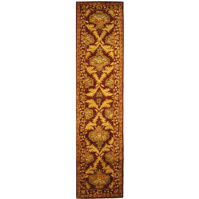 Safavieh Handmade Kerman Wine/ Gold Wool Runner (2'3 x 8')