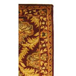 Safavieh Handmade Kerman Wine/ Gold Wool Runner (2'3 x 8') - Thumbnail 1