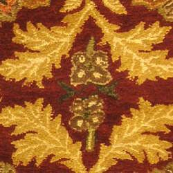 Safavieh Handmade Kerman Wine/ Gold Wool Runner (2'3 x 8') - Thumbnail 2