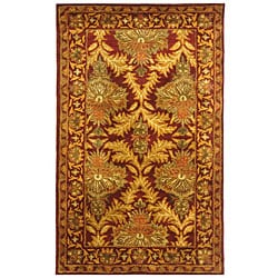Safavieh Handmade Kerman Wine/ Gold Wool Runner (2'3 x 4')