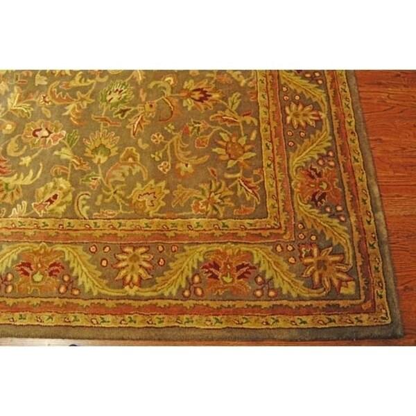 "Safavieh Handmade Antiquities Kerman Charcoal Green Wool Rug - 7'-6"" x 9'-6"""