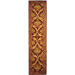 Safavieh Handmade Kerman Wine/ Gold Wool Runner (2'3 x 12')