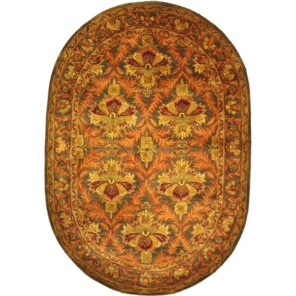 "Safavieh Handmade Kerman Sage/ Gold Wool Rug - 4'-6"" x 6'-6"" oval"
