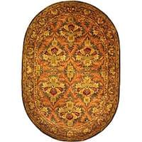 "Safavieh Handmade Kerman Sage/ Gold Wool Rug - 7'6"" x 9'6"" oval"