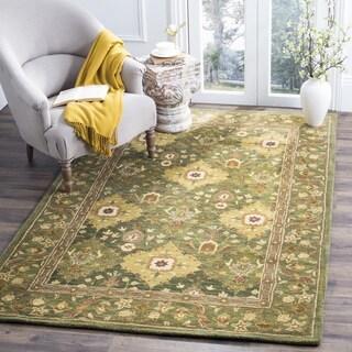 Safavieh Handmade Tabriz Olive Wool Rug (3' x 5')