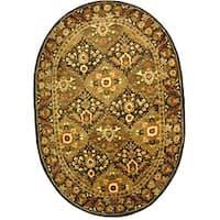 Safavieh Handmade Tabriz Olive Wool Rug - 4'6' x 6'6 oval