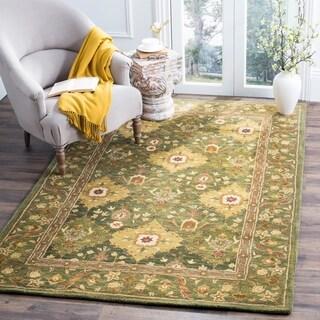 Safavieh Handmade Tabriz Olive Wool Rug (6' x 9')