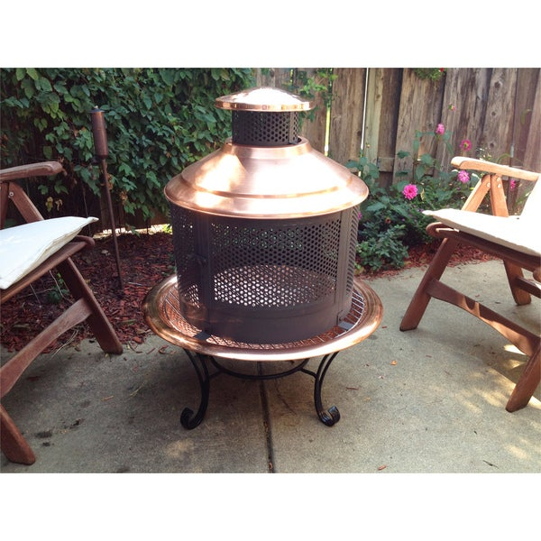 Shop Chiminea Copper Firepit Combo With Screen
