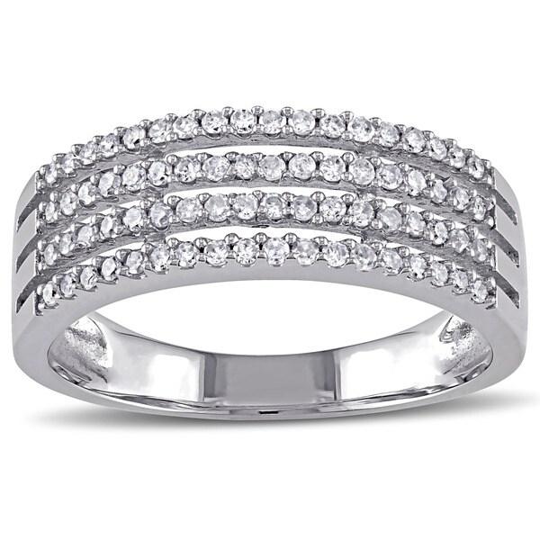 Miadora 10k White Gold 3/8ct TDW Diamond 4-row Ring