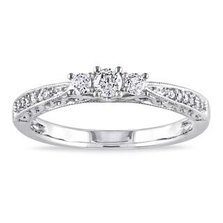 Miadora 10k Gold 1/4ct TDW Diamond 3-stone Ring