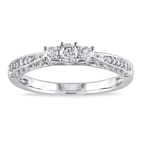 Miadora 10k Gold 1/4ct TDW Diamond 3-stone Ring