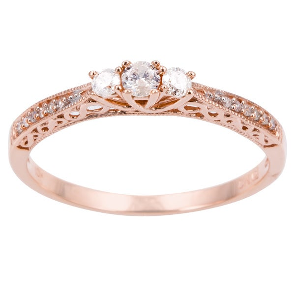 Miadora 10k Gold 1/4ct TDW Diamond 3-stone Ring (H-I, I2-I3)