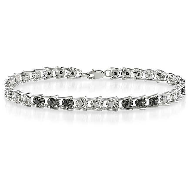14k White Gold 1ct TDW Black/ White Diamond Bracelet (J-K, I3)