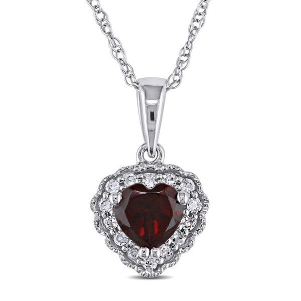 Miadora 10k Gold Garnet and Diamond Heart Necklace