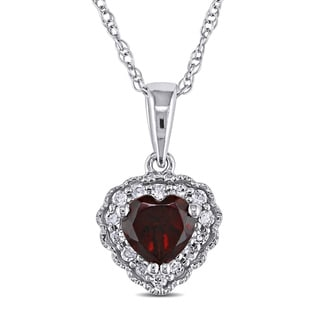 Miadora 10k Gold Garnet And Diamond Heart Necklace