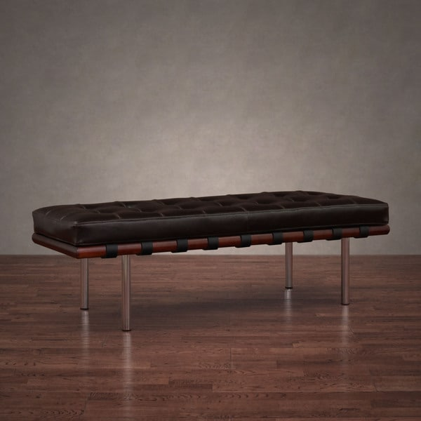 Andalucia Brown Leather and Walnut Wood Bench