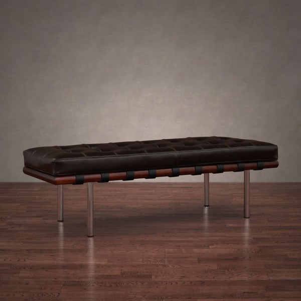 Andalucia brown leather and walnut wood bench free for James furniture and mattress deals